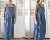 vtg 90s denim maxi overall dress with tie string, pinafore dress, size small, size medium, size large, size x large