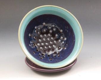 Handmade Pottery Berry Bowl Purple an Turquoise  by Mark Hudak