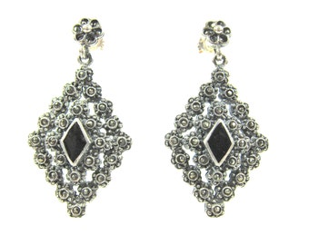 Vintage Marcasite, 925 Sterling Silver And Onyx Art Deco Style Diamond Shaped Dangle Earrings