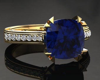 Blue Sapphire Engagement Ring Cushion Cut Blue Sapphire Ring 14k or 18k Yellow Gold Matching Wedding Band Available W26BUY