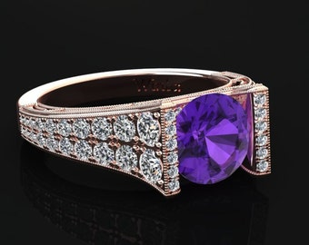 Amethyst Engagement Ring Amethyst Ring 14k or 18k Rose Gold Matching Wedding Band Available W24PUR