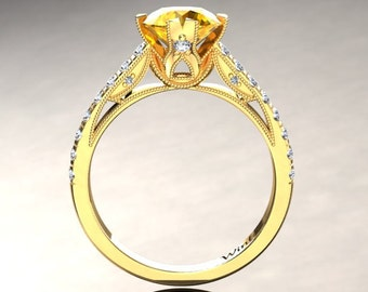 Yellow Sapphire Engagement Ring Yellow Sapphire Ring 14k or 18k Yellow Gold Matching Wedding Band Available W2YSY