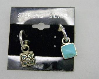 Sterling Silver 925 Dangling Turquoise Square Post Earrings #7009