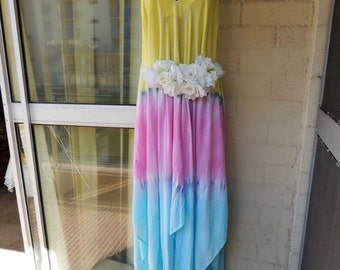 CLEARANCE Stunning Pastel Tye-Dye Stevie Nicks Gypsy Boho Hankerchief Pixie  Hem Fairy Maxi Dress