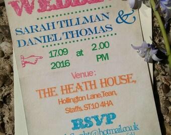 Retro vintage multicoloured carnival poster wedding invitations
