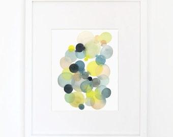 Cluster in Blue & Moss Green - Watercolor Art Print