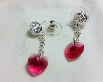 Swarovski Heart Crystal Dangle Earrings
