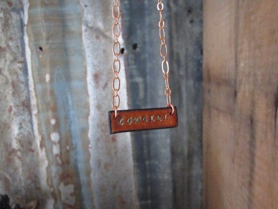 Leather Necklace, Stamped Necklace, Bar Necklace, Cowgirl