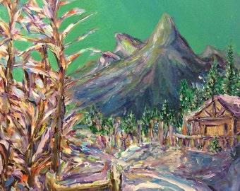 Cottage Snowy Mountain Landscape Painting, Original Impressionist Acrylic Painting, Canvas Painting by Aeris Osborne