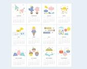 Design is Yay Printable Calendar 2016 | Mini Desk or Planner Calendar (Instant Download)