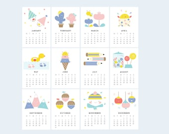 Design is Yay Printable Calendar 2016 | Mini Desk or Planner Calendar (Instant Download)
