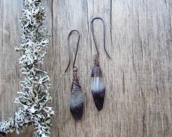 Amethyst earrings Amethyst drop earrings Bicolor stone earrings Amethyst dangle earrings Long dangle earrings February birthstone earrings