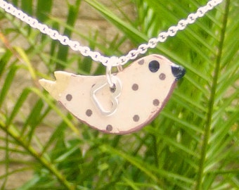 Sterling Silver and Wood  Bird Necklace Hand MadeCream and Brown Dot Pattern