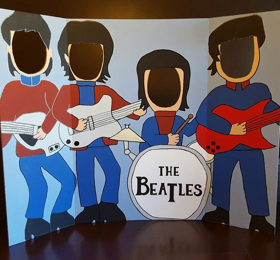 The Beatles Hand Drawn And Painted Photo Op Display Cutout