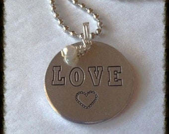 ON SALE Valentines Hand stamped Love Necklace