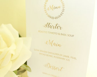 Personalised Wedding Menu for Wedding Breakfast /Wedding Reception in Gold/Silver/Rose gold/Champagne Gold/Copper/Colour Foils