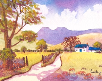 Original Watercolour, Landscape Painting, Country Lane, The Brecon Beacons, Wales, Fathers Day, Gift Idea, 9ins x 7ins, Art and Collectibles