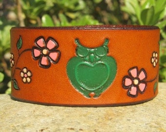 Hand Painted Tooled Leather Cuff Bracelet - Floral Vine with Owl - Cherry Blossom Branch - Wide - Women or Girl