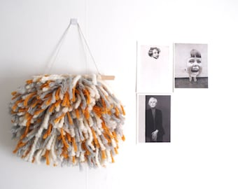 Woven fringed wall hanging // shaggy weaving