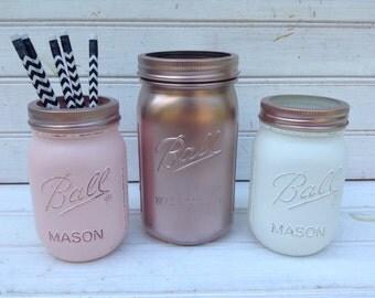 Rose Gold, Light Pink & White Mason Jars Set of 3 Quart Pint