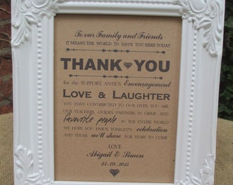 Personalised Wedding Thank You Sign - Framed Sign -  Family and Friends