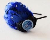 Doctor Who Headband - Tardis Bow - Black and Blue - Sapphire - Geek Headband - Geek Girl - Adult Headband - Woman Hair Accessories - Cosplay