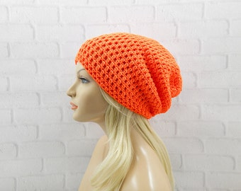 Neon Orange Crochet Hat, Slouchy Hat, Slouchy Beanie, Oversized Hat, Neon Beanie, Womens Hat, Skater Beanie, Slouchy Orange Hat, Vegan Hat
