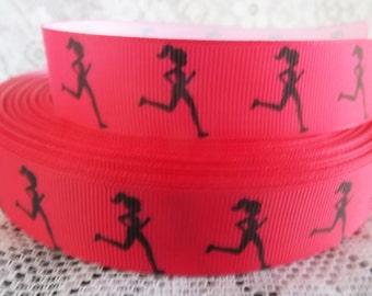 Running ribbon 7/8 inch ribbon running grosgrain ribbon jogging ribbon