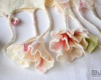 Romantic floral wrap, White felted shawl, Pastel flower scarf, Bridal wrap, Nuno felted scarf, Wool and Silk scarf, Bridesmaid gift