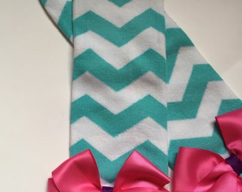 Aqua & white chevron leg warmers with pink bows and purple ribbon accents, pink, aqua and purple, baby leg warmers, leg warmers with bows