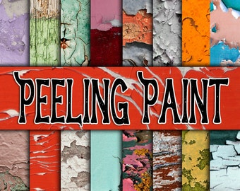 Peeling Paint Digital Paper - Peeling Paint Textures and Backgrounds - 16 Designs - 12inx12in-Commercial Use-Instant Download