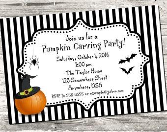Halloween Black and White Stripe Pumpkin Carving Party Invitation Digital Printable