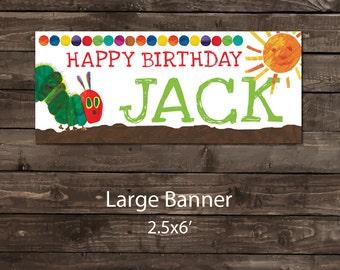 Birthday Party Banner, Party Banner, Birthday Party Sign, Birthday Banner, The Very Hungry Caterpillar Birthday Banner (vinyl)