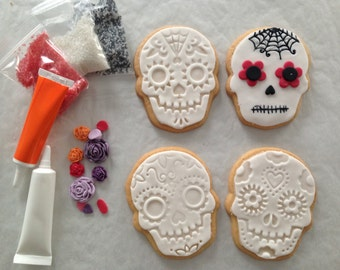 Day Of The Dead gift, Halloween Biscuit Decorating Gift, halloween party treats, cinco de mayo gift, skull biscuits, trick or treat gifts