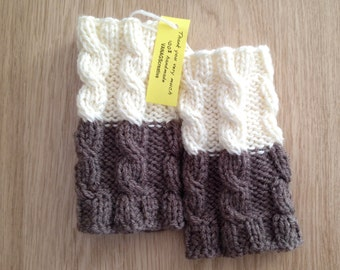 Knitted Boot cuffs Ivory with Brown Knit Boot Cuffs Leg Warmers Boot Toppers Knit Boot Socks Ready to ship