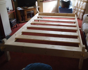 viking style double bed with wooden slats . flatpack . large. handmade re-enactment larp