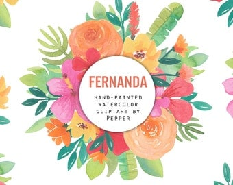 INSTANT DOWNLOAD - Fernanda Watercolor Flowers Clipart - Hi Res Printable Hand Painted Tropical Florals, Red and Orange, Banana Leaves
