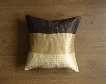 Accent Pillow Cover - Pleated Beige and Brown Cushion Cover - 16 inches -Couch Pillow - rd31