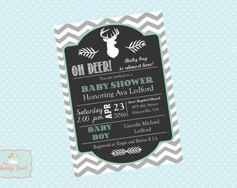 Oh Deer Baby Boy Shower invitations