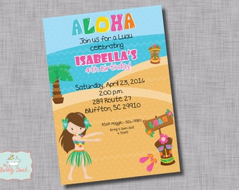 Luau Girl Birthday Invitation, Printable DIY