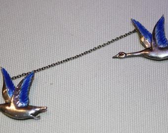 Sterling Silver Enamel Flying Geese Double Brooch