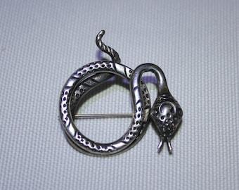 Sterling Silver Serpent Brooch