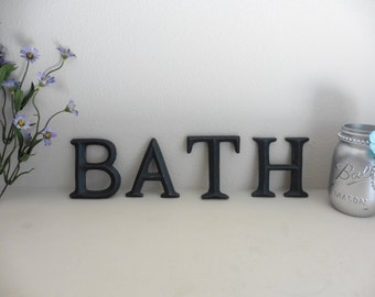 Distressed BATH Rustic Dark Gray Letters Sign Wall Decor ~ Hang on Wall or Shelf ~ Beach Romantic Country Shabby Chic Decor