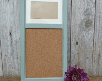 Hand Painted Wood BULLETIN BOARD with 4 x 6 Photo Frame Wall Office Organizer ~ Distressed Robin Egg Blue ~ home office decor