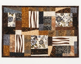 Art Quilt Blocks in Brown Black Grey, Quilted Wall Hanging