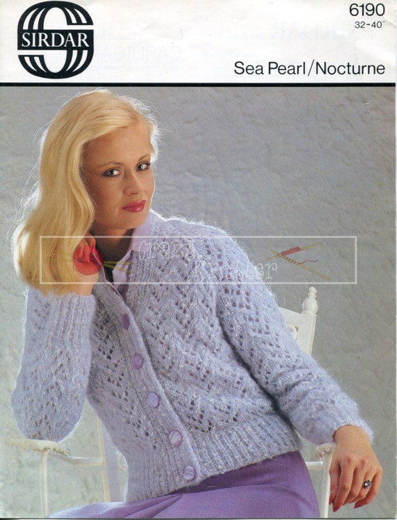 "Lady's Lace Cardigan 32-40"" Aran Sirdar 6190 Vintage Knitting Pattern PDF instant download"