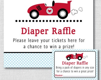 Boy Race Car Diaper Raffle Ticket - Race Car Baby Shower - Diaper Raffle Ticket and Party Sign - INSTANT DOWNLOAD
