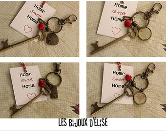 Home Sweet Home Skeleton Key Keychain Antique Bronze Gift Keychain