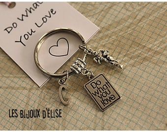 B-GRADE Personalized Do What You Love Keychain Sport  or Hobbies Keychain Antique Silver B-Grade