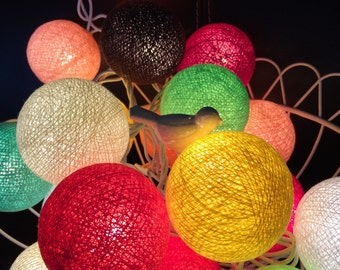 Mixx Brown Cotton Ball Lights for home decoration,wedding patio,indoor string lights,bedroom fairy lights,20 Bulbs